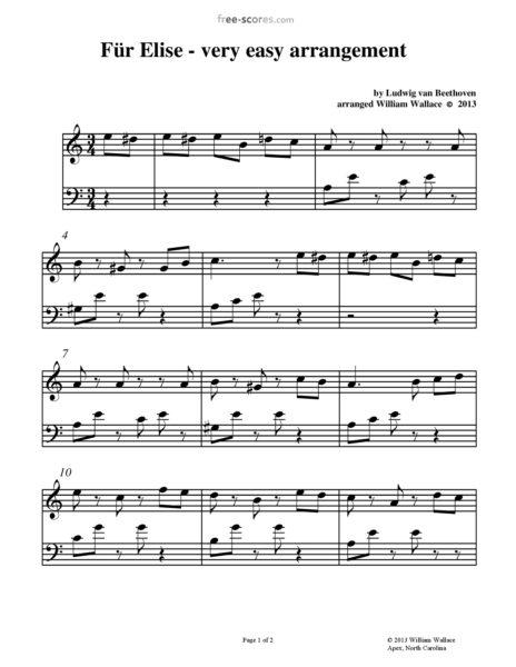 エリーゼのために 無料楽譜 初心者向け 簡単楽譜