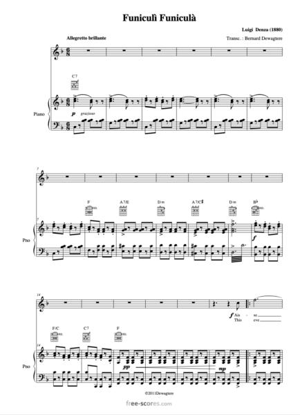 Funiculi Funicula free sheet music
