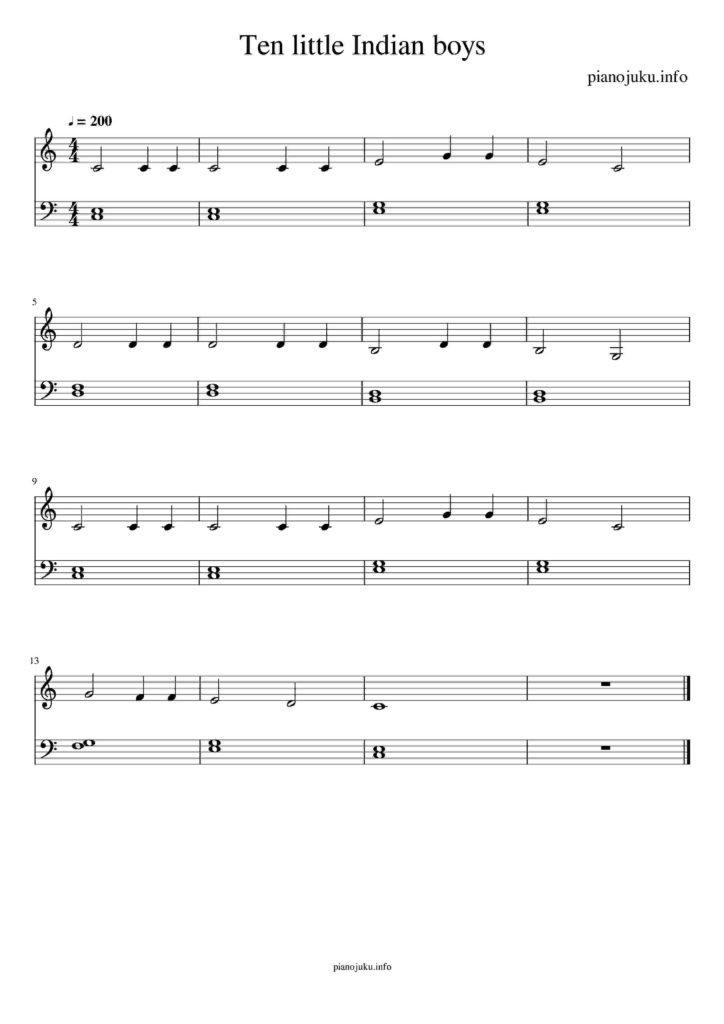 Ten little Indian boys 10人のインディアン 無料ピアノ楽譜 両手 簡単