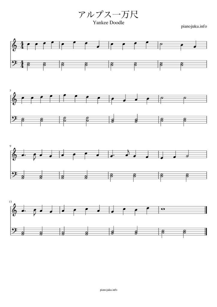 アルプス一万尺 無料楽譜 両手 簡単