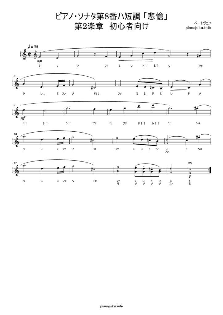悲愴 無料楽譜 ドレミ付き 初心者